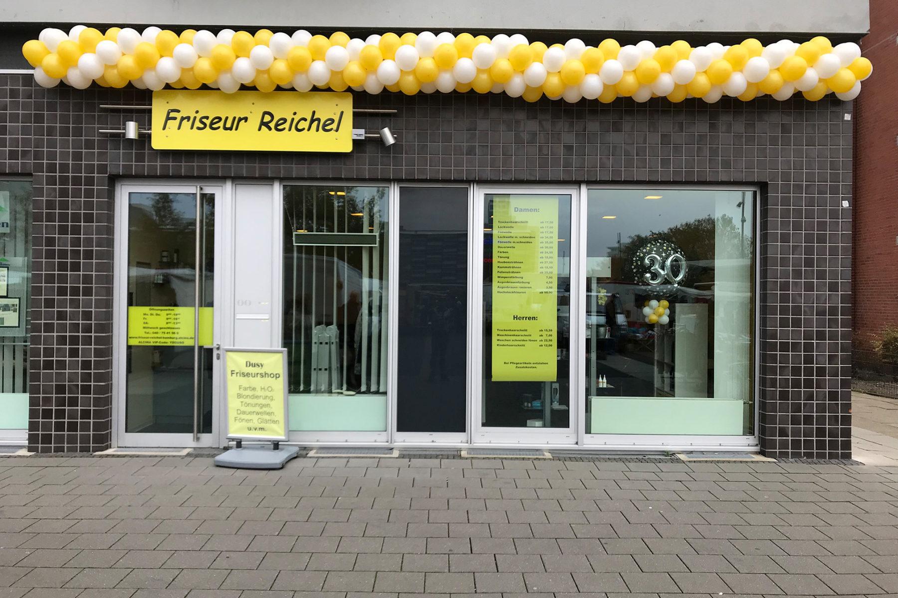 Event-Balloons Friseur Reichel Ballongirlande zweifarbig gelb weiß