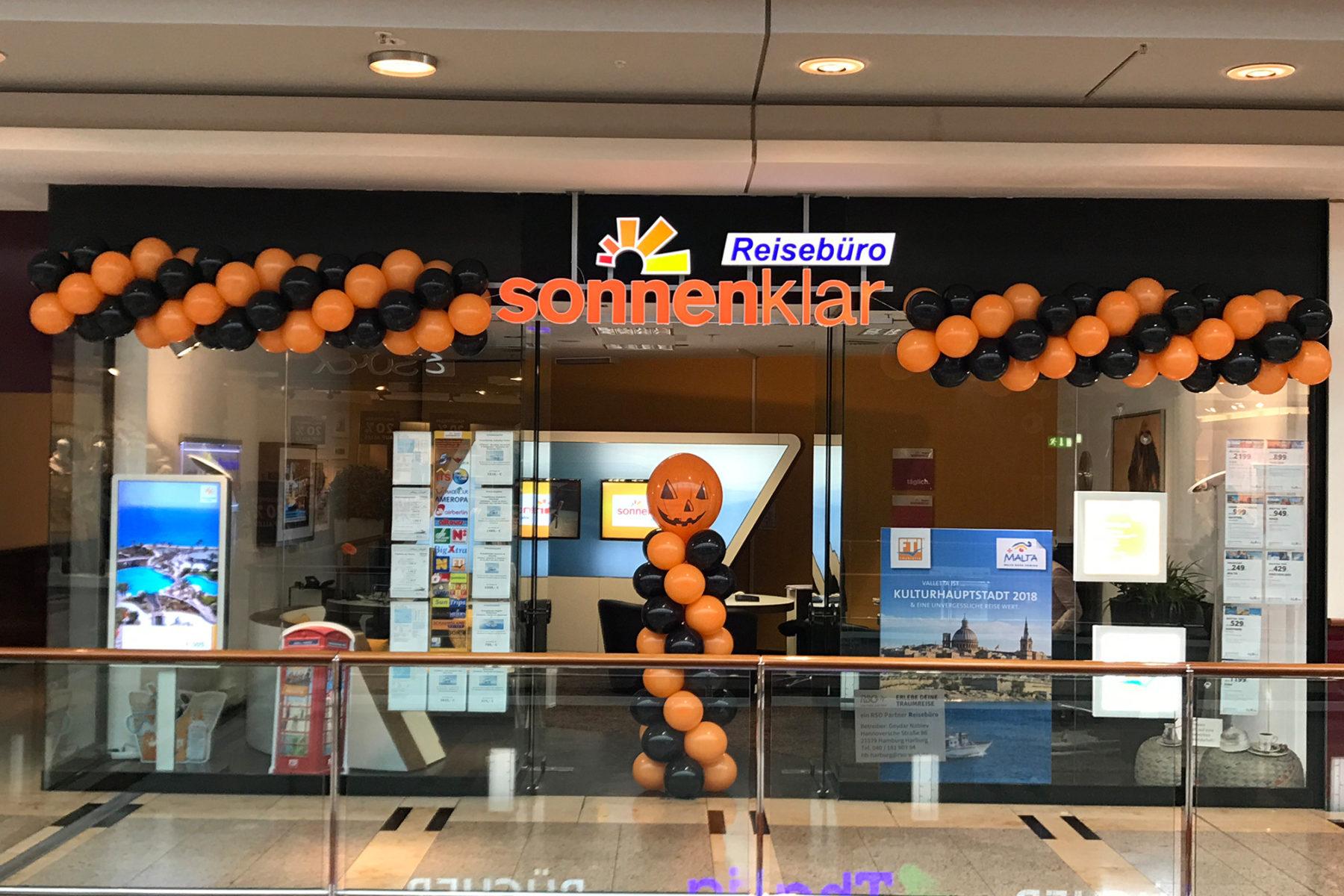 Event-Balloons Reisebüro Sonnenklar Luftballongirlande Zweifarbig Orange schwarz